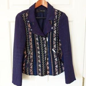 Zara Moto Style Jacket with Tapestry Design